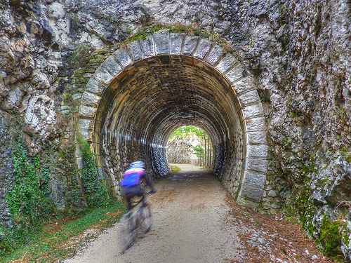 Cycle path along the former railway Val Rosandra, in the province of Trieste