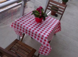 A little table dresesd with a re and white checked tablecloth on a patio