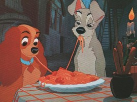 """Picture of the famous frame of lily and the tramp eating spaghetti in """"Lily and the tramp"""" Walt Disney cartoon"""