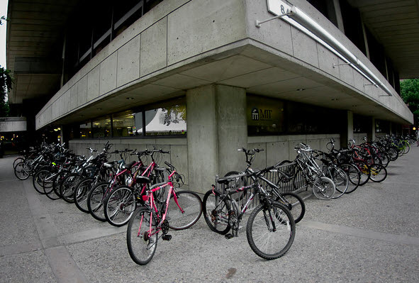 Bikes parked outside one of the MIT buildings
