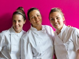 A picture of the three ladies leading te kitchen brigade at the Origin Liberty Village in Toronto Canada