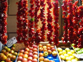 Fresh fruit on Italian market stalls