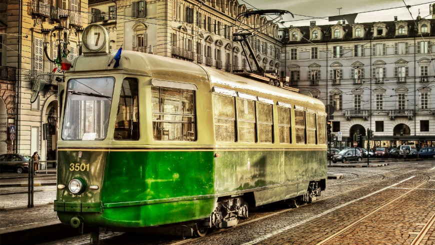 Old style tram in Turin