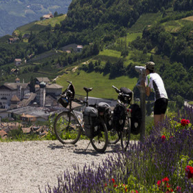 Cyclist admiring the valley
