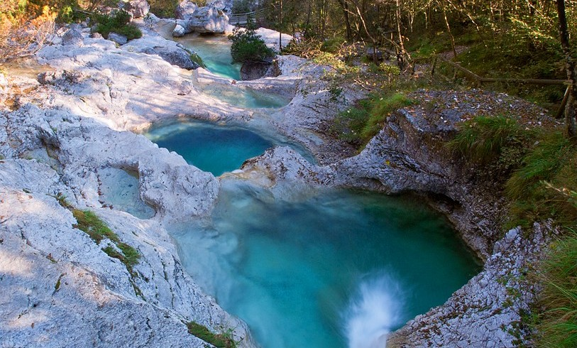 Natural pools in the Valle del Mis, Belluno, Italy
