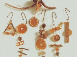 Home-made Christmas decorations with oranges