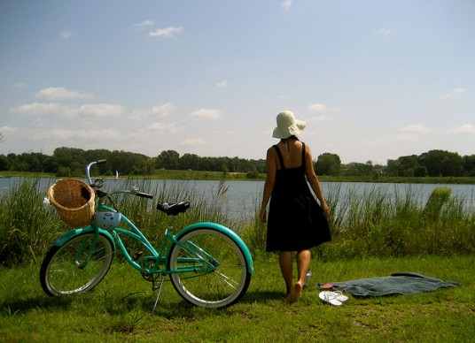 A woman and a bike
