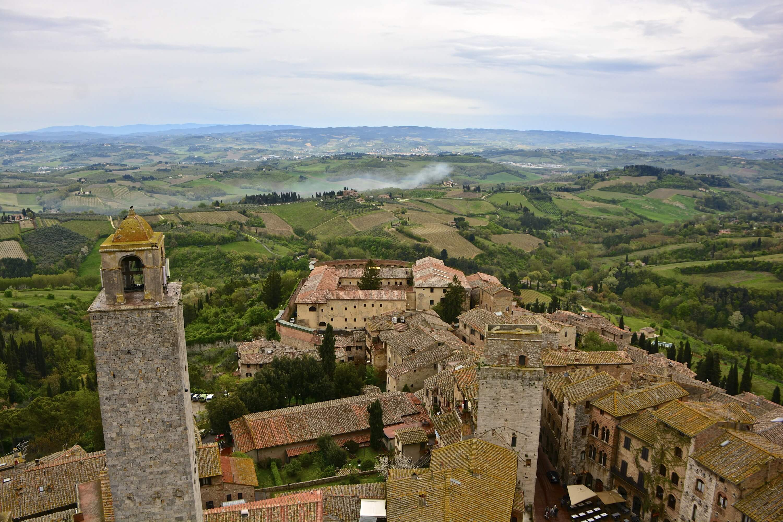 overhead view of San Gimignano