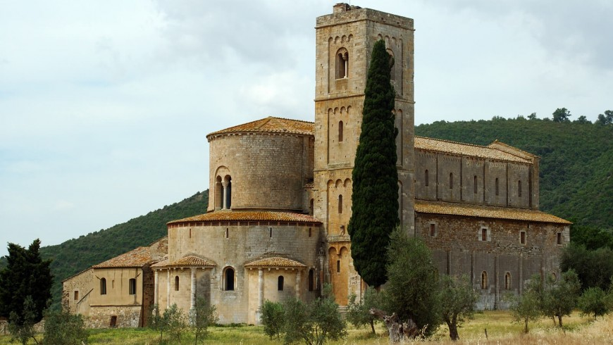 View of the abbey of Sant'Antimo (Siena) from outside