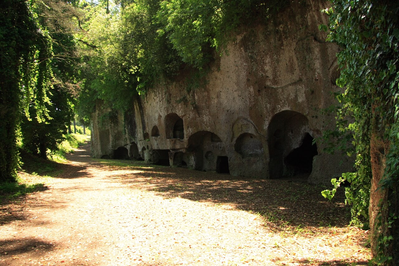 view of the Etruscan necropolis in Sutri