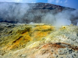 Solfatare that emits sulphur and fumes (Crater of Vulcano, Eolie)