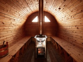 The interior of the Swedish sauna (Refuge Bella Vista, BO)