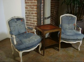 Denim armchairs