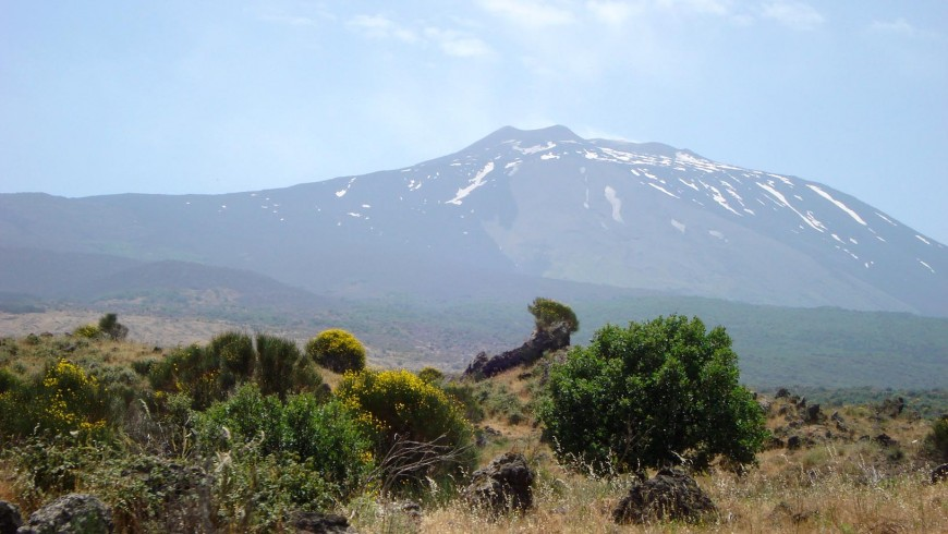 Sight of Etna from the Circumetnea train's window