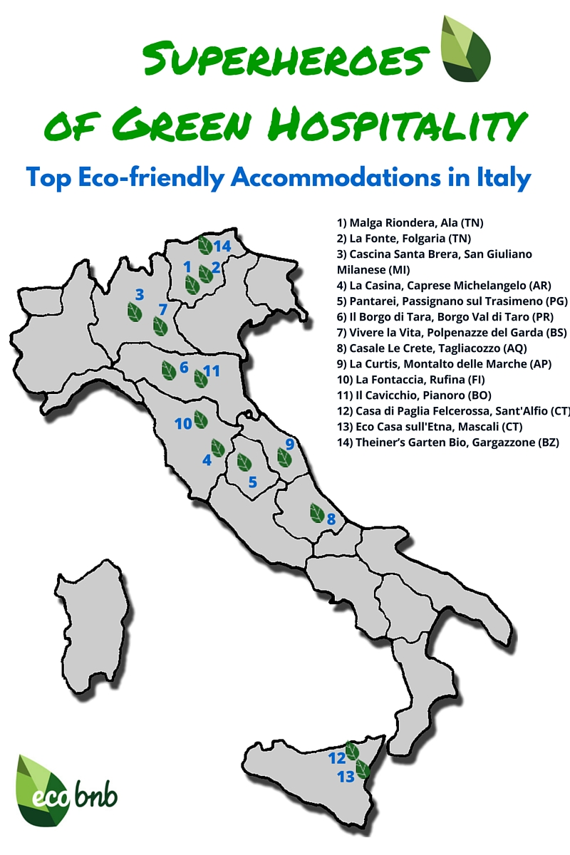 Map, Top Eco-friendly Accommodations in Italy