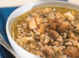 Barley soup, with mushrooms and chestnuts, a dish of Valle Maira