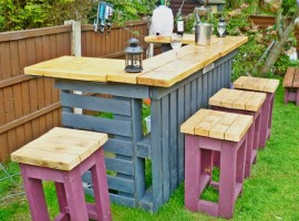 Bar and stools made of pallets