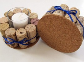 Candle holder made with corks