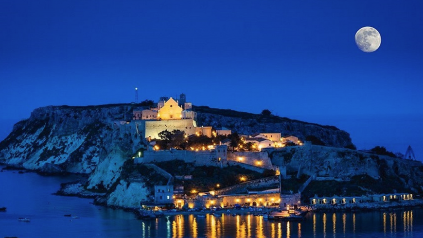 Tremiti Islands with the full moon