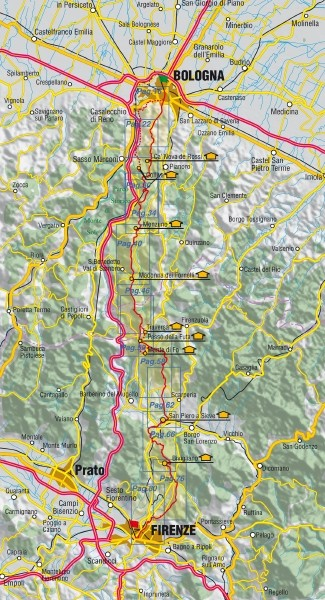 The Walk of the Gods, from Bologna to Florence, map