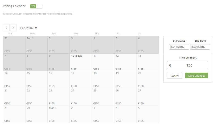 Ecobnb Pricing Calendar