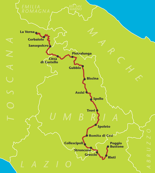 The Saint Francis Walk, from Assisi to La Verna, Casentino, Italy, Map