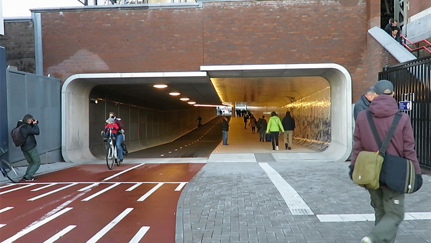 The new bike and pedestrian tunnel of Amsterdam