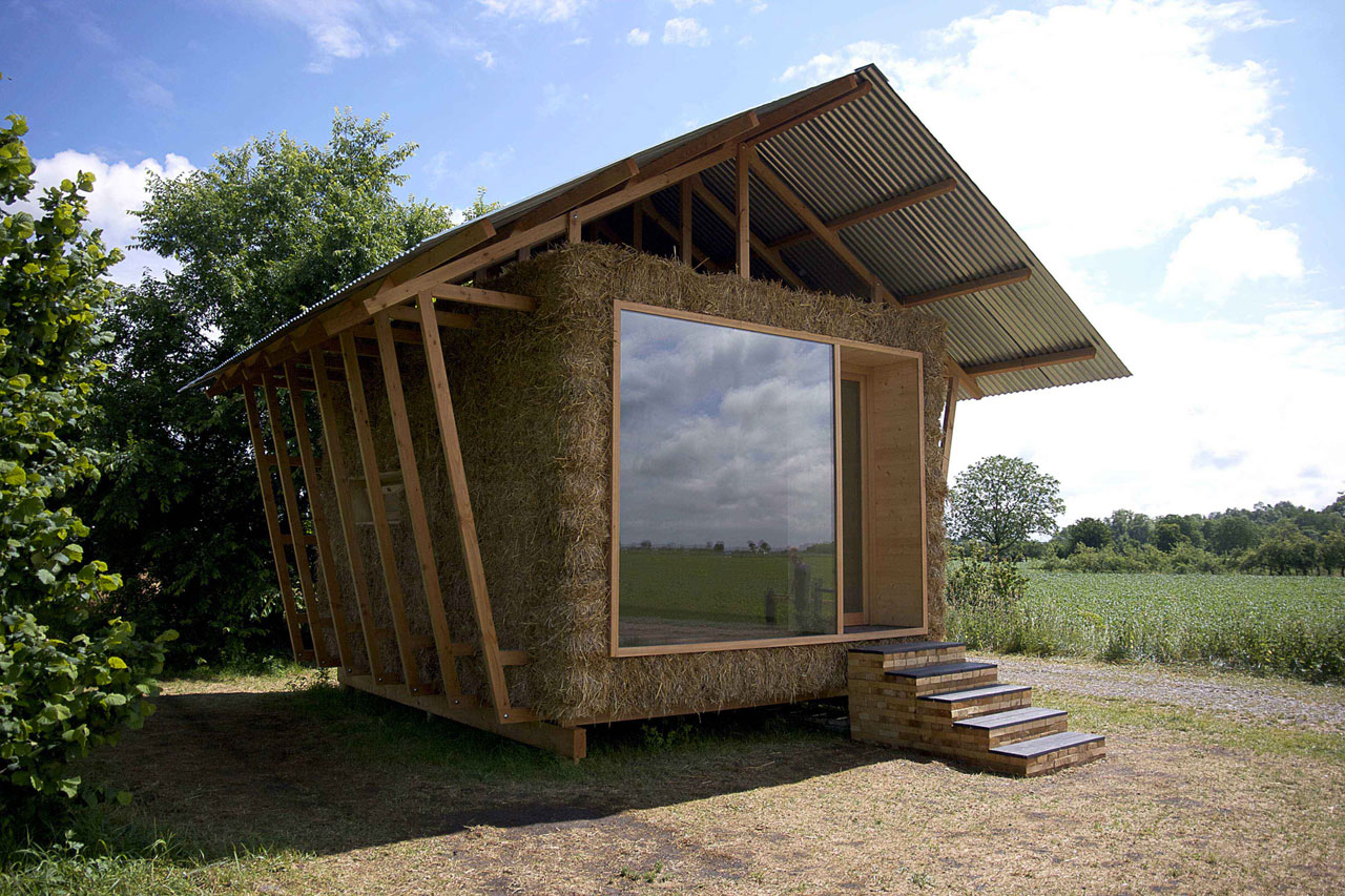 Eco-friendly house with walls in packed straw