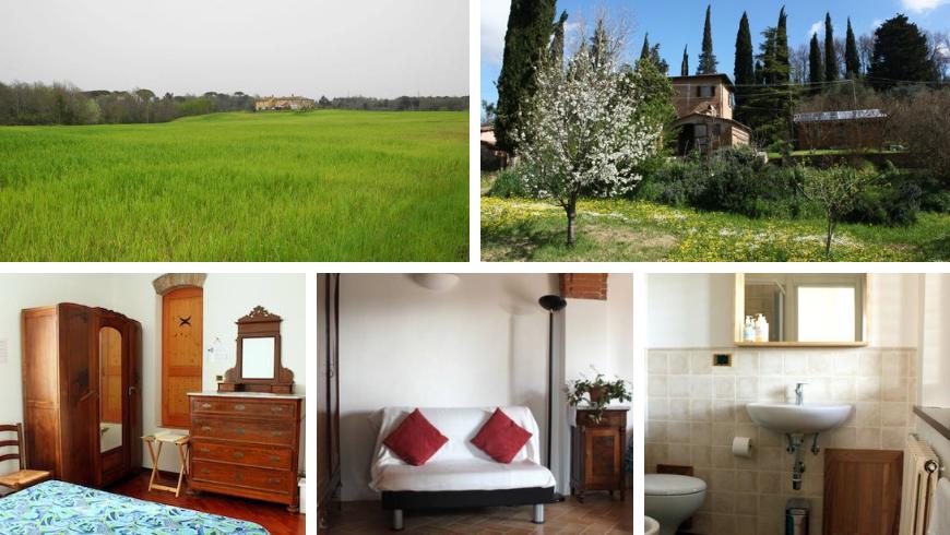 Landscape around the Eco-BNB La Fanciullaccia, bedroom, bathroom, living room