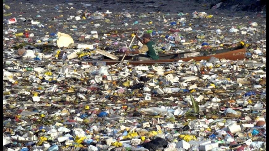 Plastic island in Pacific Ocean