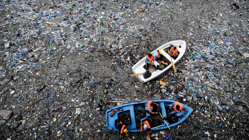 The island of plastic in the ocean
