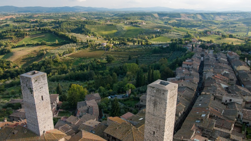 San Gimignano and its towers, the perfect spot to photograph the Sienese hills