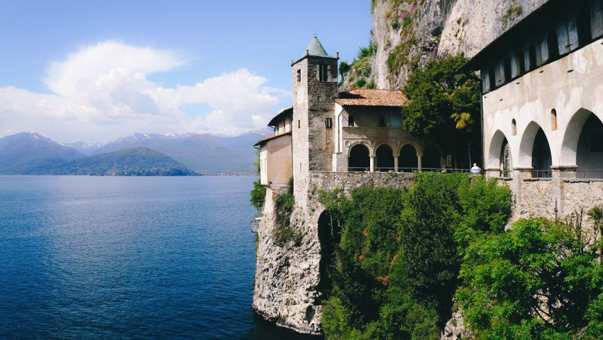 The Hermitage of Santa Caterina del Sasso, destination for spiritual walks in Italy