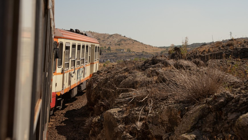 Circumetnea, the train that goes around Mount Etna