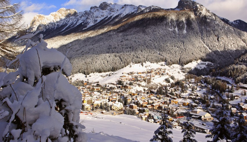 Moena and its mountains in winter, Trentino's Alpine Pearl (italy)