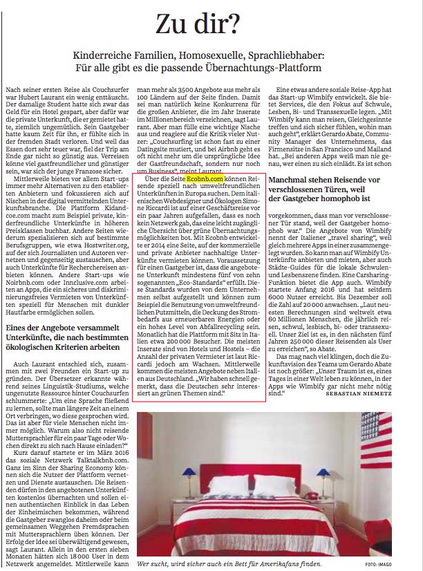 Süddeutsche Zeitung, a german newspaper, wrote about Ecobnb