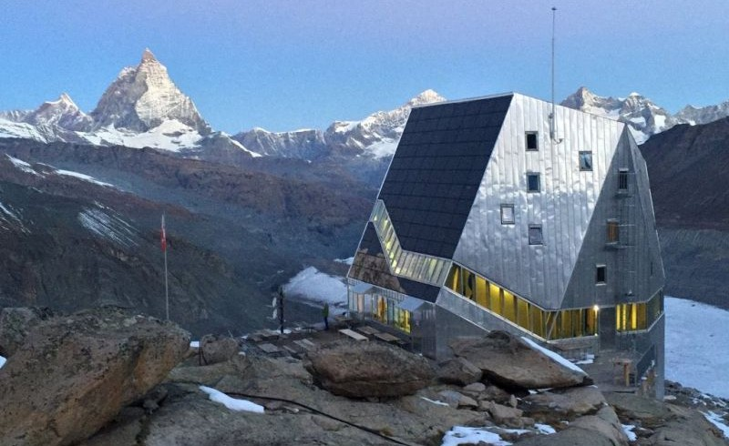 The shelter Monte Rosa Hut, one of the eco-friendly shelters of Switzerland