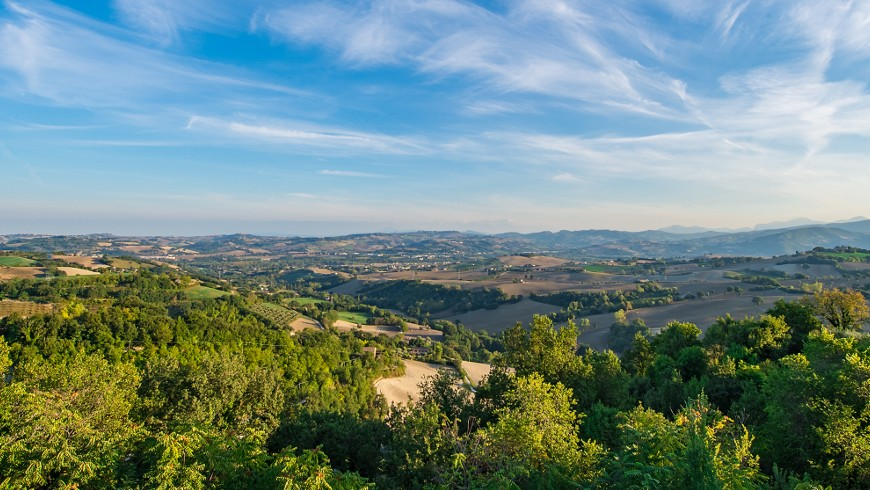 Landscape from Casa Oliva, Albergo Diffuso in an ancient village in Marche region (Italy)