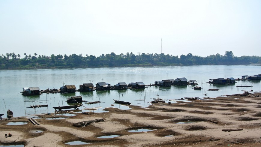 The shores of the Mekong at Kratie, Cambodia