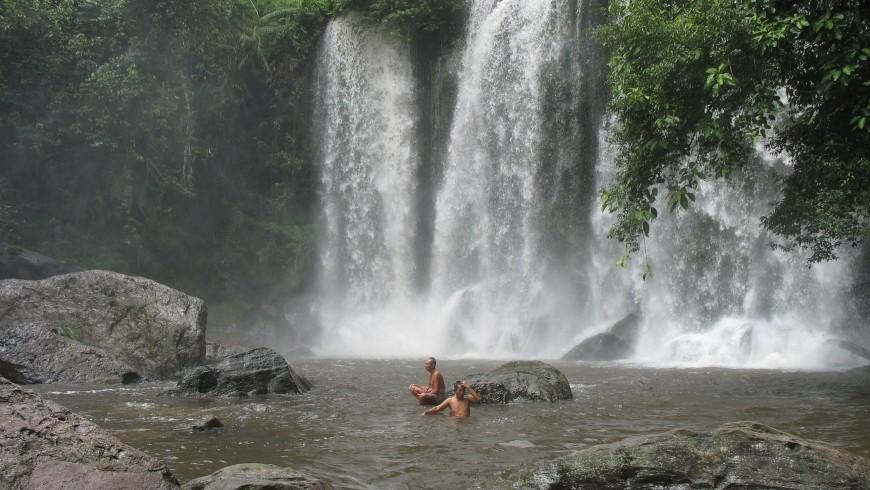 The waterfall inside the park of Phnom Kulen, Cambodia