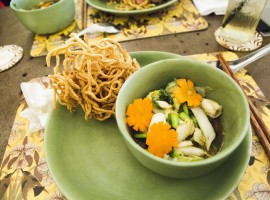 Traditional Vietnamese Cuisine: Fried noodles with squid and vegetables