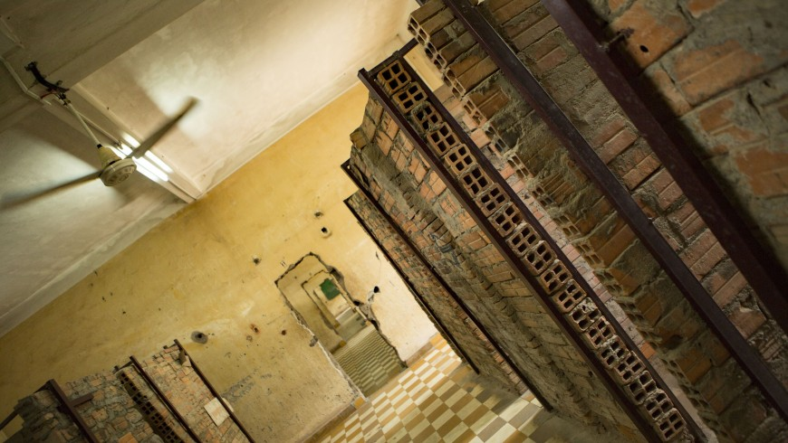 The tiny, improvised cells in Tuol Sleng prison, Phnom Penh, Cambodia