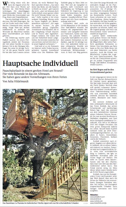 Frankfurter Rundschau wrote about Ecobnb