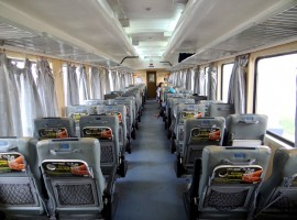 Train interior, soft seating