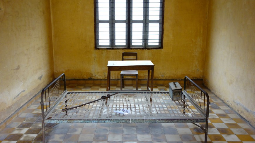 One of the rooms of torture in Tuol Sleng prison, Phon Penh, Cambodia