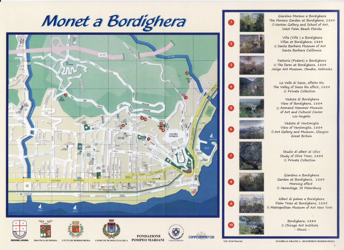A Map to discover the landscapes painted by Monet in Bordighera