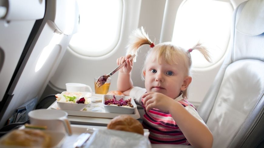eating healty food during a plane trip