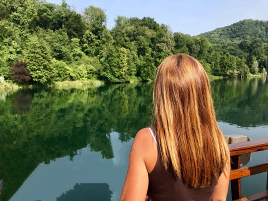 Crossing the river Adda in Brianza on the boat designed by Leonardo Da Vici picture by Viaggevolmente