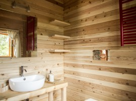Wooden interior of the treehouse, Piedmont, Italy