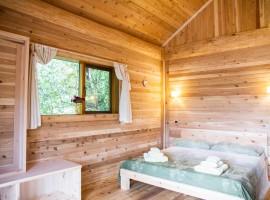 Bedroom in the tree house, Piedmont, Italy